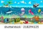 funny scene under the sea.... | Shutterstock .eps vector #218294125