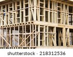 new construction wood home... | Shutterstock . vector #218312536