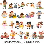 group of cute happy cartoon... | Shutterstock .eps vector #218315446