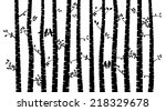 black and white vector birch... | Shutterstock .eps vector #218329678