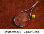 close up of tennis racket and... | Shutterstock . vector #218340256