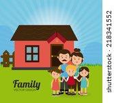family design over landscape... | Shutterstock .eps vector #218341552