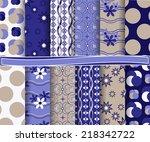 set of  abstract vector paper... | Shutterstock .eps vector #218342722