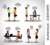 business people with speech... | Shutterstock .eps vector #218343895