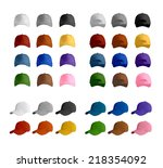 baseball cap template set ... | Shutterstock .eps vector #218354092