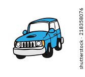 suv off road van cartoon vector | Shutterstock .eps vector #218358076