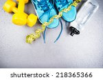 different tools for sport on... | Shutterstock . vector #218365366