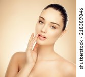 beautiful woman. applying... | Shutterstock . vector #218389846