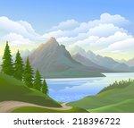 vector landscape and river | Shutterstock .eps vector #218396722