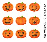 set pumpkins for halloween | Shutterstock .eps vector #218408512