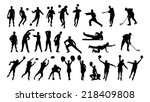 collage of silhouette... | Shutterstock .eps vector #218409808