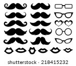 Set of moustaches, glasses and lips
