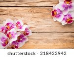orchids bloom. white with pink... | Shutterstock . vector #218422942
