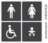 restroom icons  lady  man ... | Shutterstock . vector #218424526