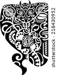 maori tattoo design is on white   Shutterstock .eps vector #218430952