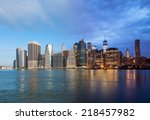 montage of manhattan skyline... | Shutterstock . vector #218457982