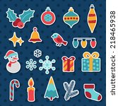set of merry christmas and... | Shutterstock .eps vector #218465938