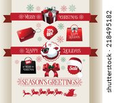 christmas ribbons stickers and... | Shutterstock .eps vector #218495182