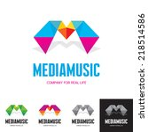 Media music - vector logo sign concept. Origami style illustration. M letter abstract concept. Vector logo template.