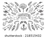 hand drawn vintage floral... | Shutterstock .eps vector #218515432