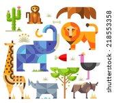 geometric flat africa animals...   Shutterstock .eps vector #218553358