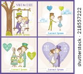 save the date wedding card set  ... | Shutterstock .eps vector #218557222
