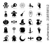 set of black icons on white... | Shutterstock .eps vector #218558512