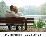 rear view of a happy couple... | Shutterstock . vector #218565415