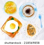 breakfast painted watercolor... | Shutterstock .eps vector #218569858