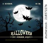 happy halloween poster. vector... | Shutterstock .eps vector #218572276