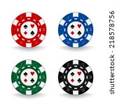 set of decorated poker chips | Shutterstock .eps vector #218578756