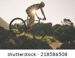 the young man cycling cross... | Shutterstock . vector #218586508