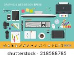 vector graphic designers desk | Shutterstock .eps vector #218588785