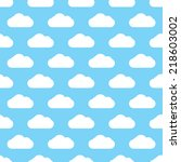 seamless blue clouds pattern | Shutterstock . vector #218603002