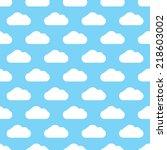 seamless blue clouds pattern | Shutterstock . vector #218603002