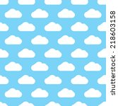 seamless blue clouds pattern... | Shutterstock .eps vector #218603158