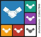 handshake icon | Shutterstock .eps vector #218617846