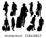 people at the station... | Shutterstock .eps vector #218618815
