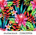 dramatic dark tropic jungle... | Shutterstock . vector #218620906