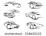 Stock vector set of six monochrome cars 218633122