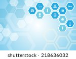 medical background and icons to ... | Shutterstock .eps vector #218636032