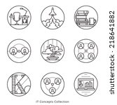 Information Technology and Social Networks conceptual business icons. Vector graphics set. Logo templates.