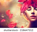 fantasy autumn woman fashion... | Shutterstock . vector #218647312