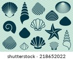 set of various sea shells and... | Shutterstock .eps vector #218652022