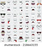 set of 49 cartoon faces with... | Shutterstock .eps vector #218663155