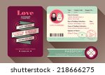 retro visa passport wedding... | Shutterstock .eps vector #218666275