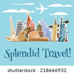 world landmarks sticker icons... | Shutterstock .eps vector #218666932
