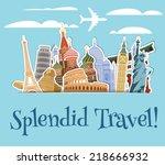 World landmarks sticker icons set with sky scrapbook background vector illustration | Shutterstock vector #218666932