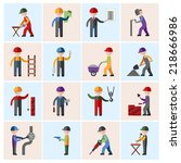 construction worker people... | Shutterstock .eps vector #218666986