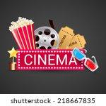 cinema ticket filmstrip award... | Shutterstock .eps vector #218667835